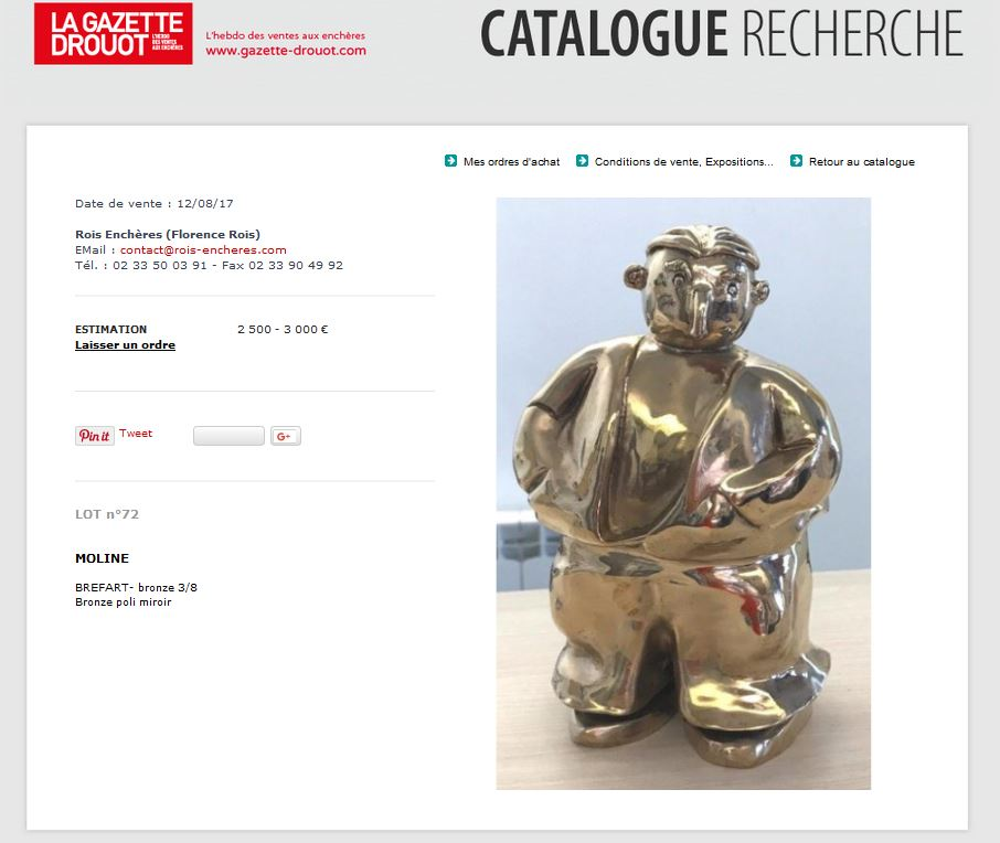 Photo du bronze sur le catalogue Drouot