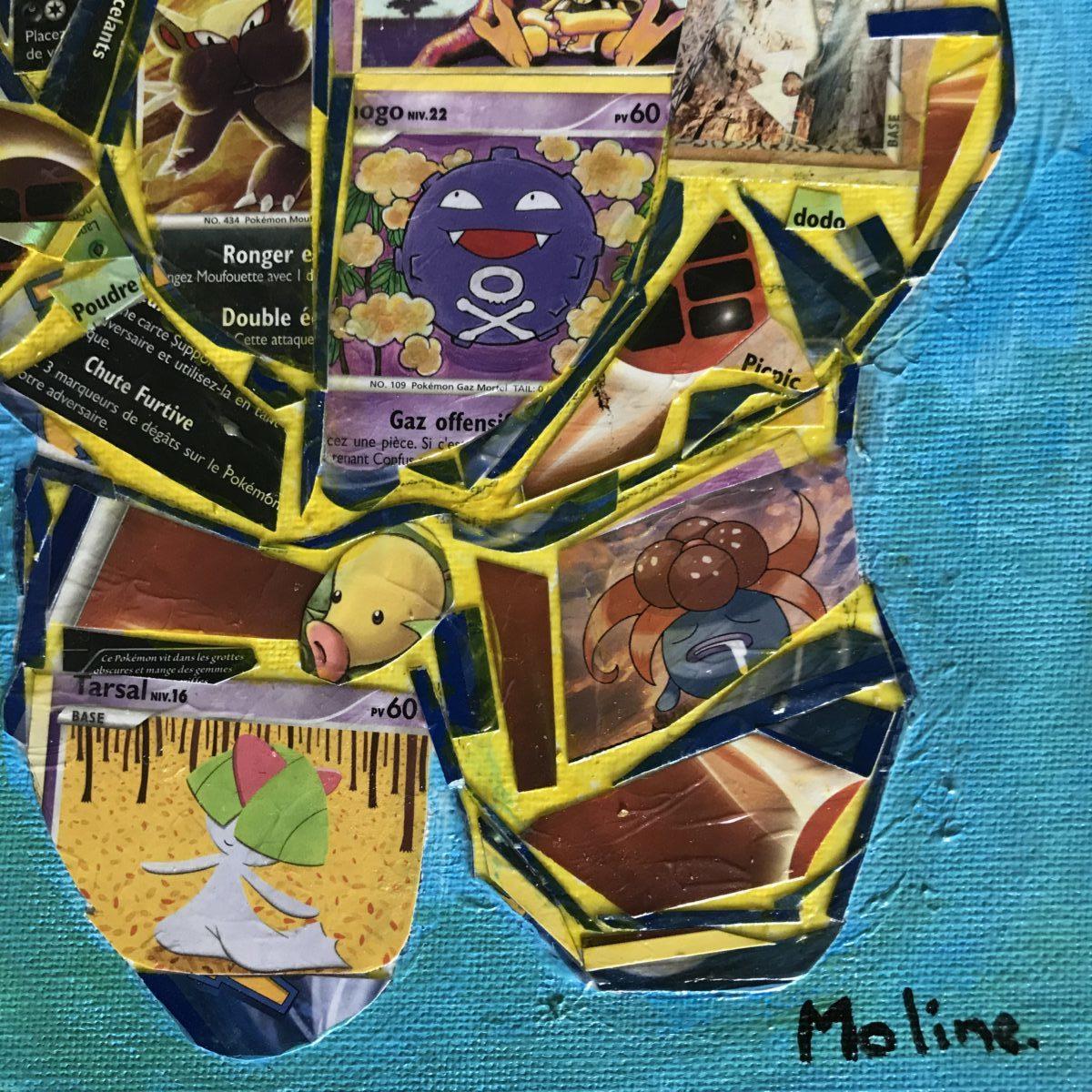 Partie basse de la toile avec Moline signature en bas à droite. fond bleu signature noire. Toile assez lumineuse.