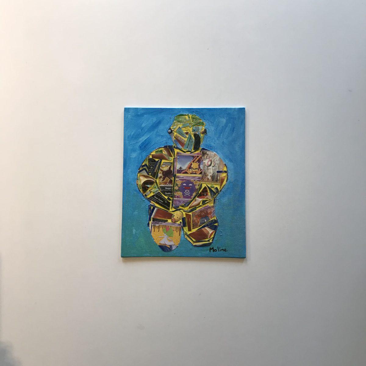 """Toile Pikka Leon faite à partir de carte de la serie Pokémon, découpées et ssemblées pour former l'emblematique """"Leon"""""""